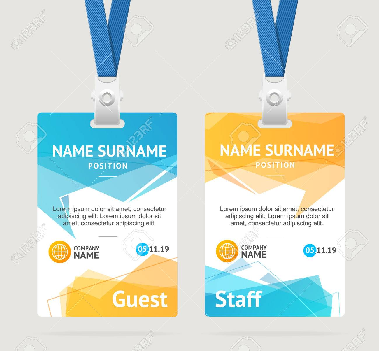 id card template plastic badge vector royalty free cliparts