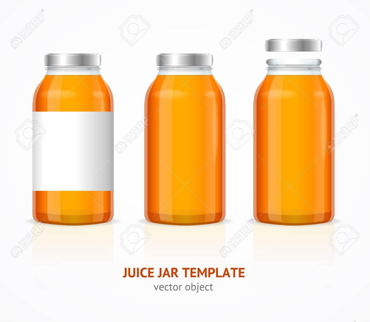 Realistischer Saft-Glasgefäß-Flaschen-Schablonen-Satz. Vektor ...