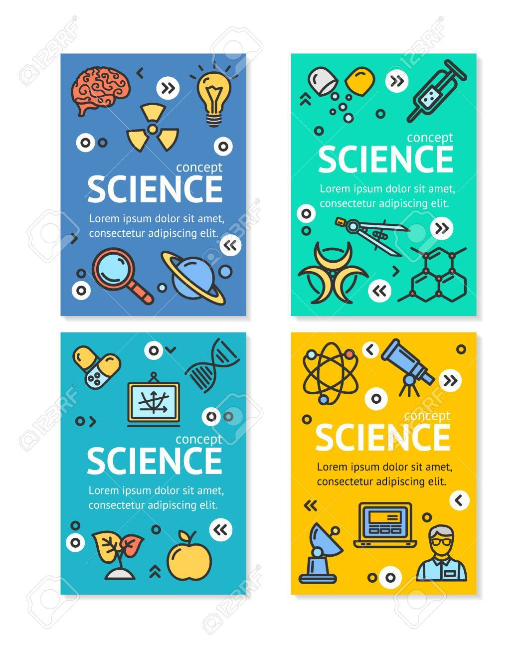 science research flyer banner posters card set template witch