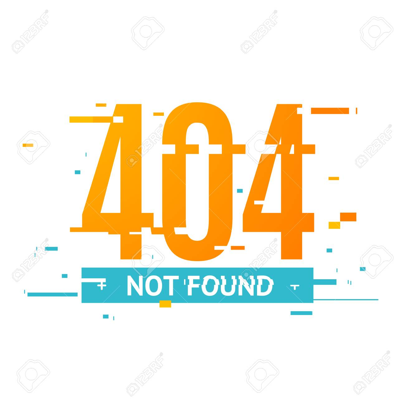 404 Not Found Concept Glitch Style. Vector Stock Photo, Picture And