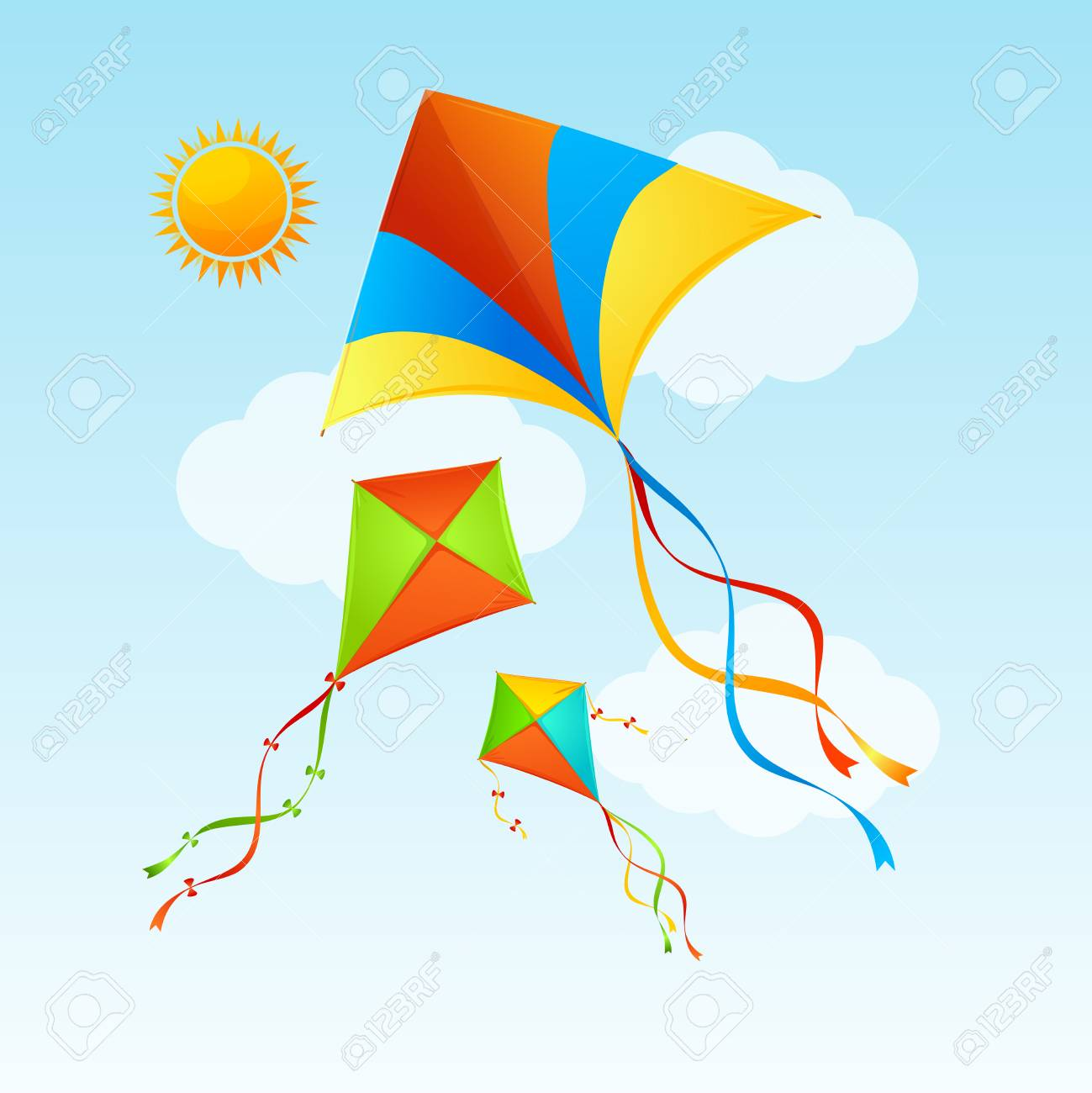 Flying Kite And Clouds On A Blue Sky Summer Concept Background Holiday Or Vacation Time