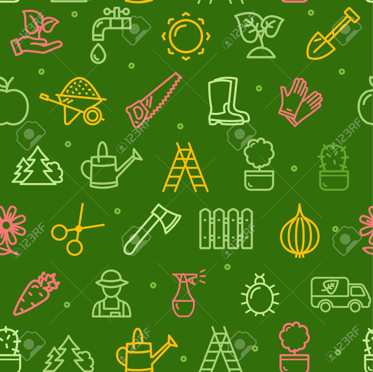 Gardening Seamless Pattern Background Or Wallpaper With Outline Royalty Free Cliparts Vectors And Stock Illustration Image 94380067