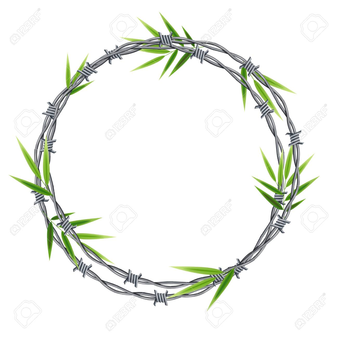 Realistic 3d Detailed Barbed Wire Frame With Green Leaf Bamboo ...
