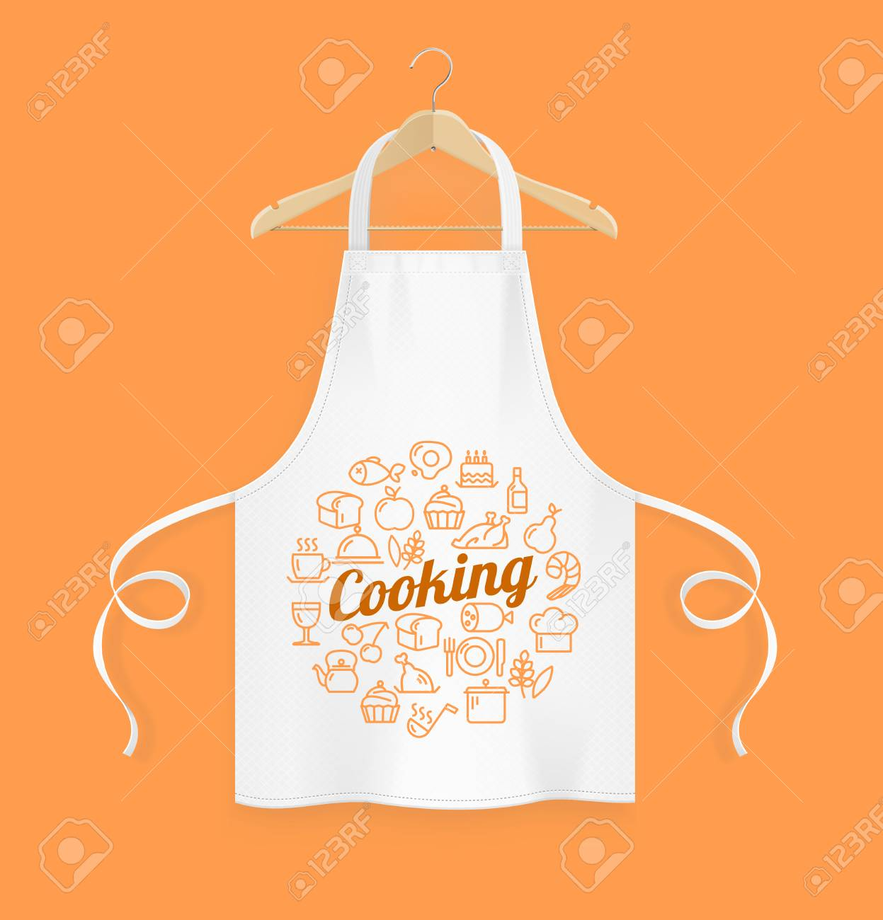 Realistic Detailed 3d White Kitchen Apron with Wooden Clothes Hanger. Vector - 108657922