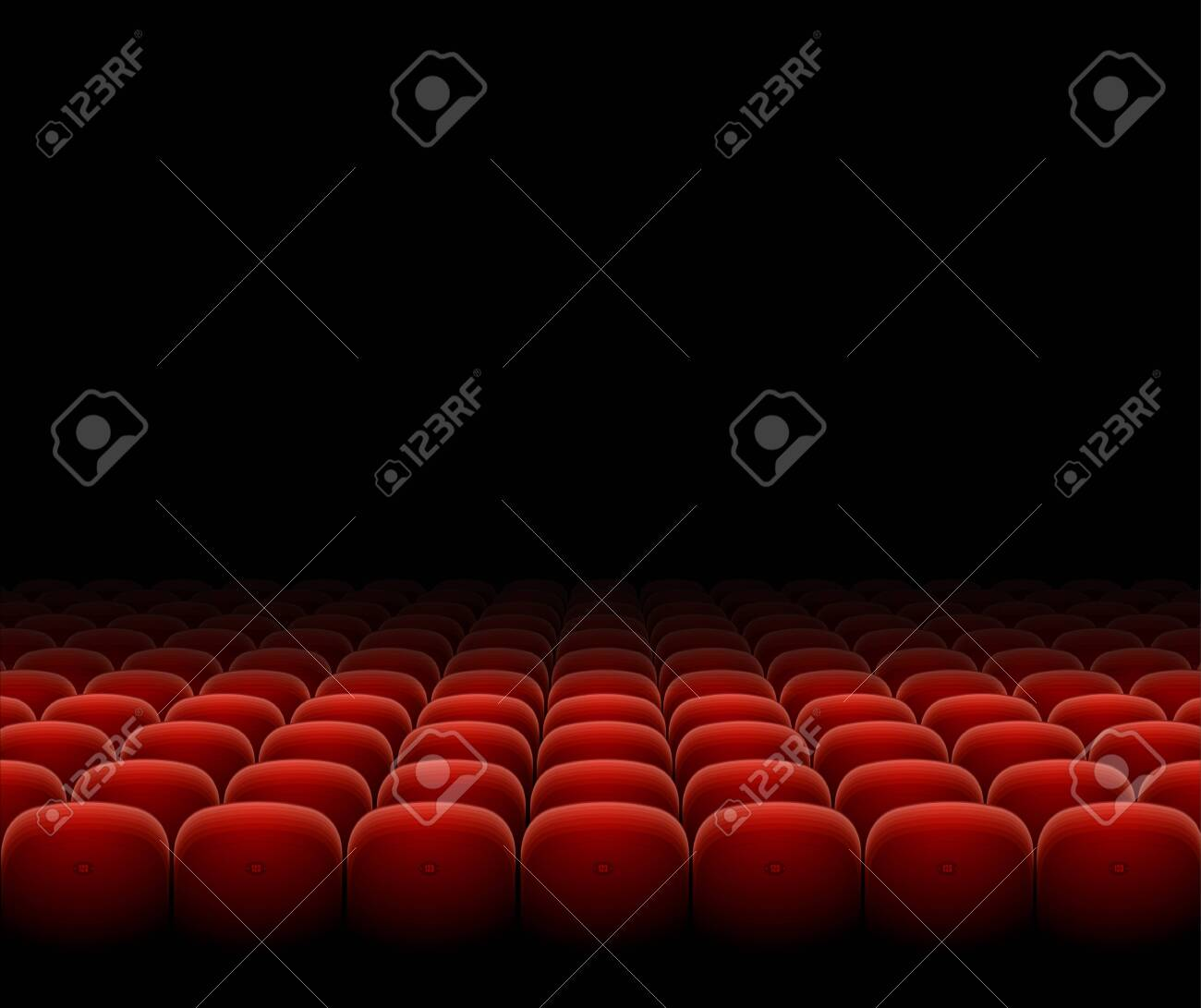 Cinema Theater Red Seats Row Set on a Dark. Vector - 152348117