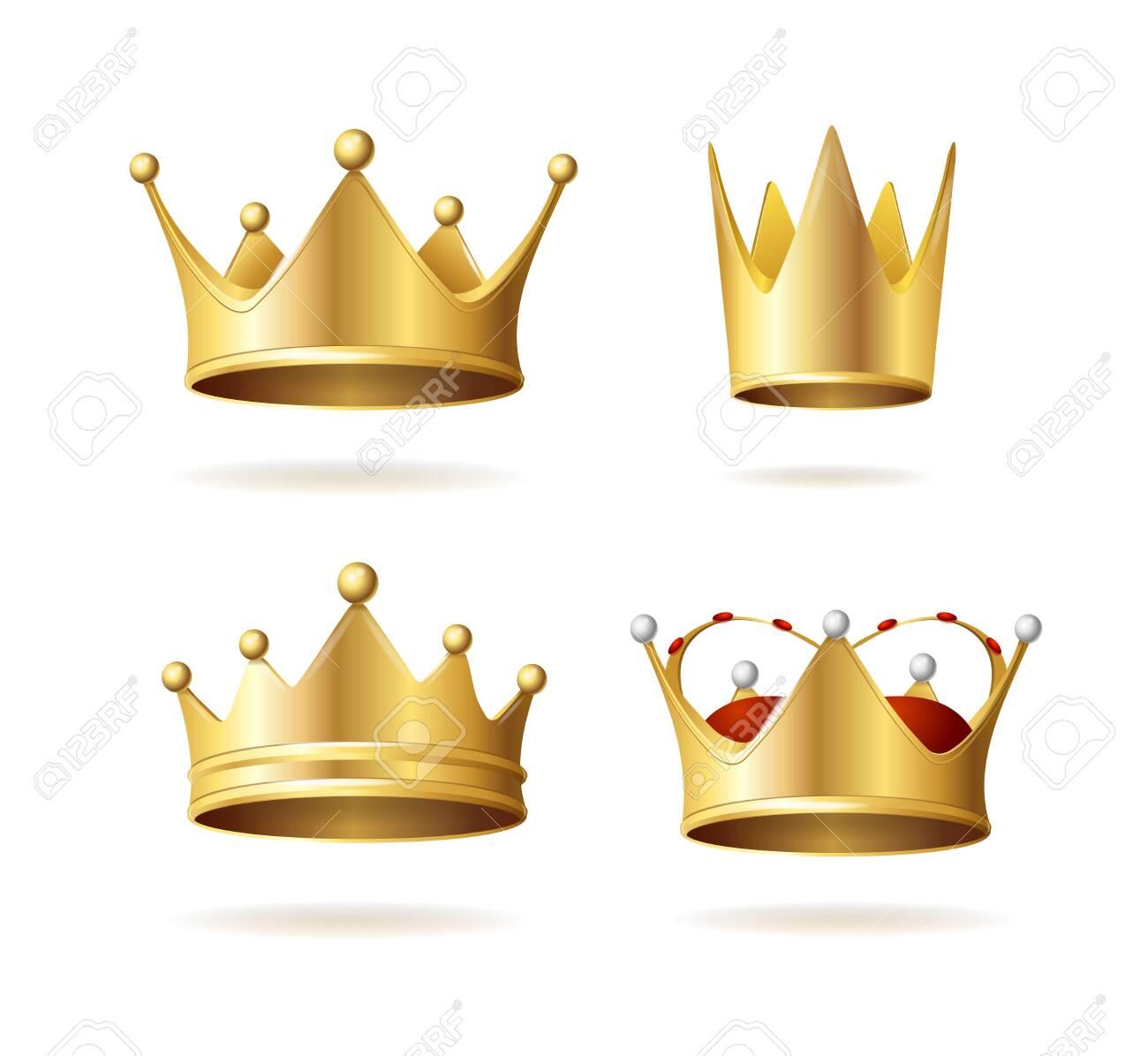 Realistic Detailed 3d Golden Royal Crown Set. Vector - 152935472