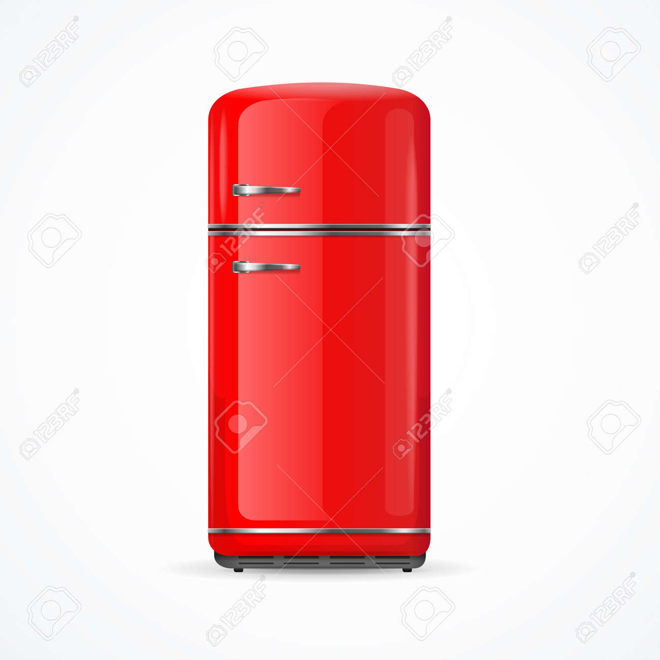 Realistic Detailed 3d Vintage Red Fridge. Vector - 155348774