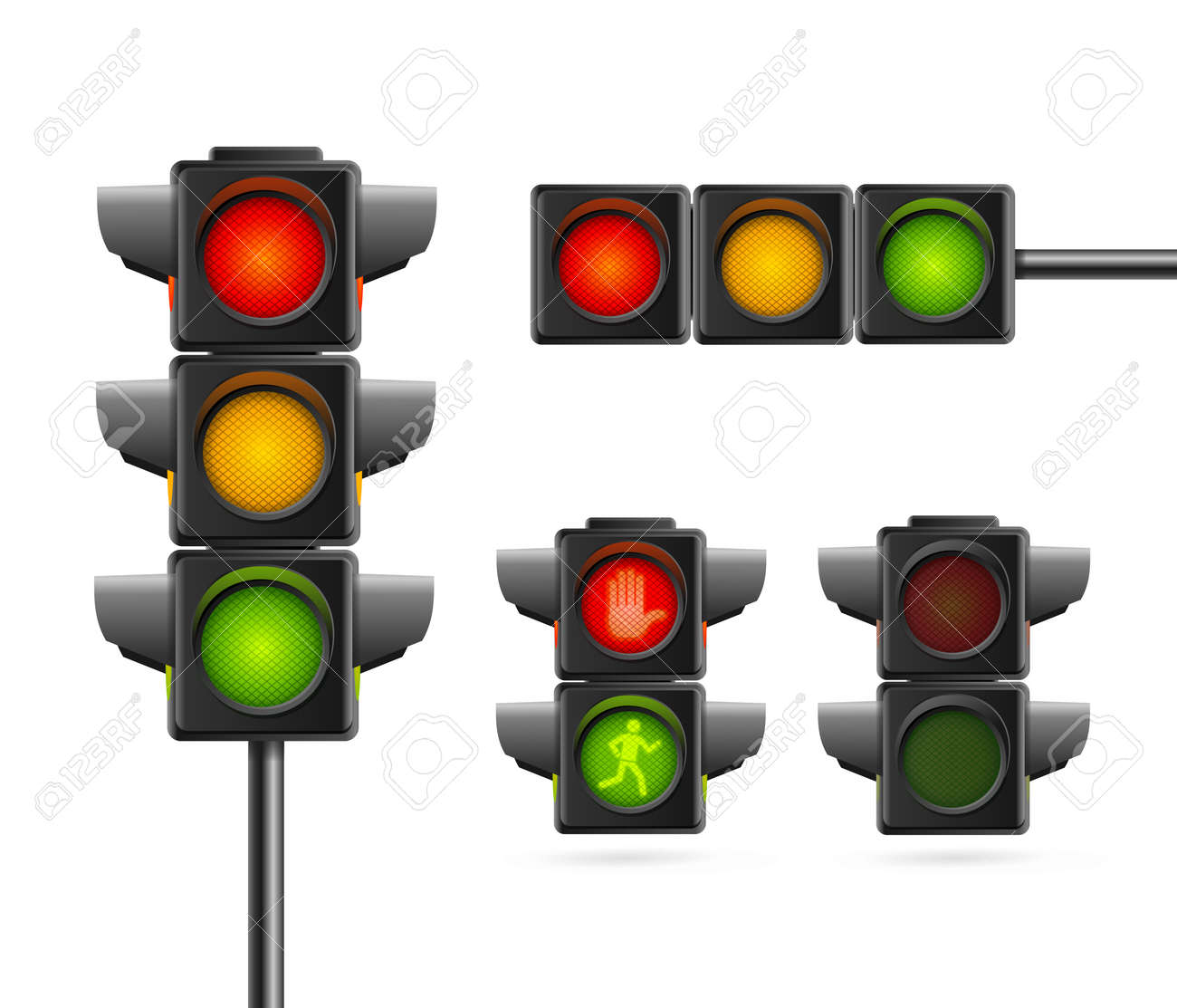Realistic Detailed 3d Road Traffic Light Set. Vector - 167912405