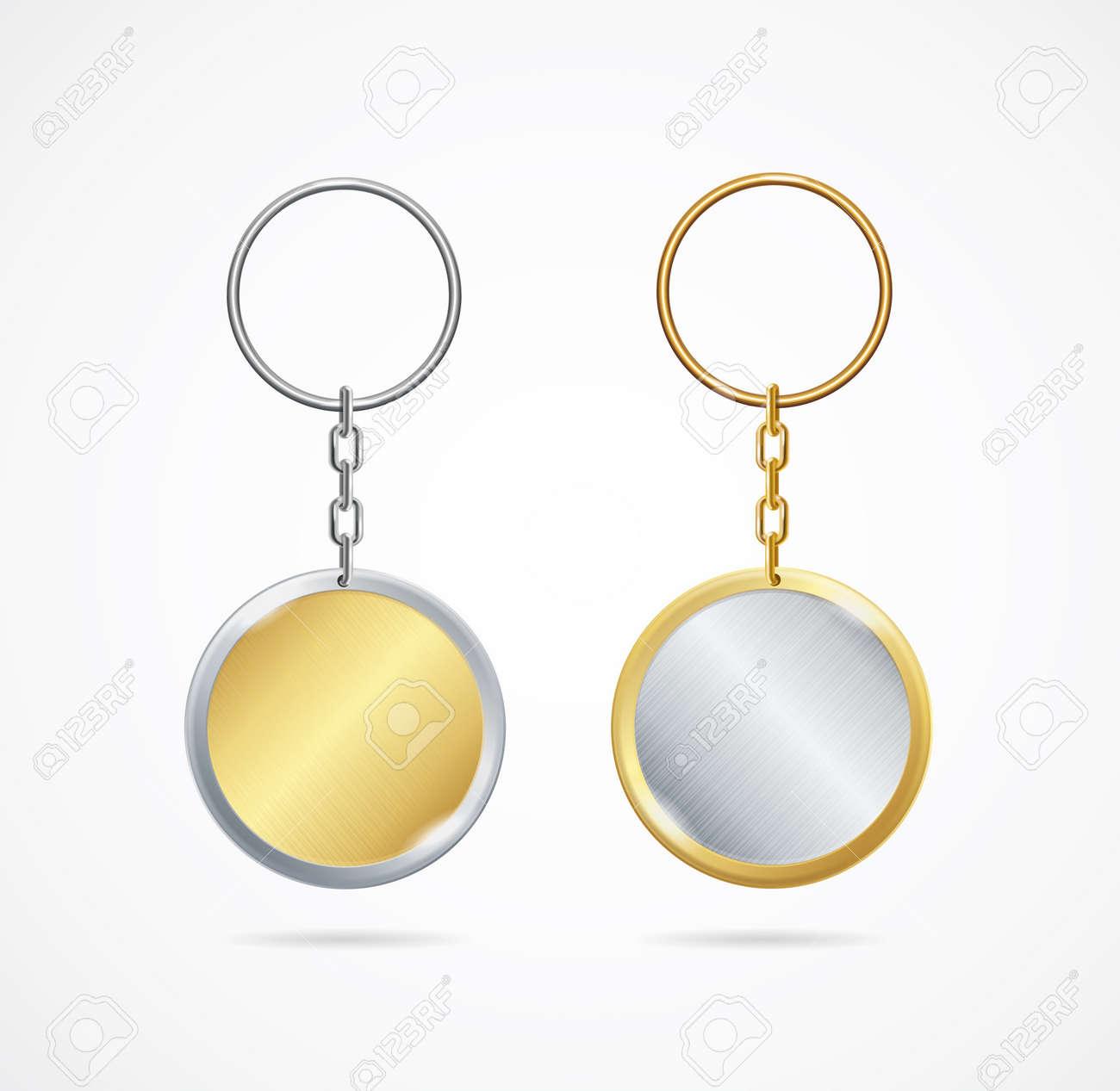 Realistic Detailed 3d Empty Metallic Keychain Set. Vector - 169550587