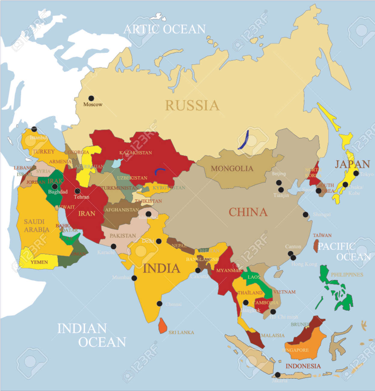 Karte Asien.Stock Photo