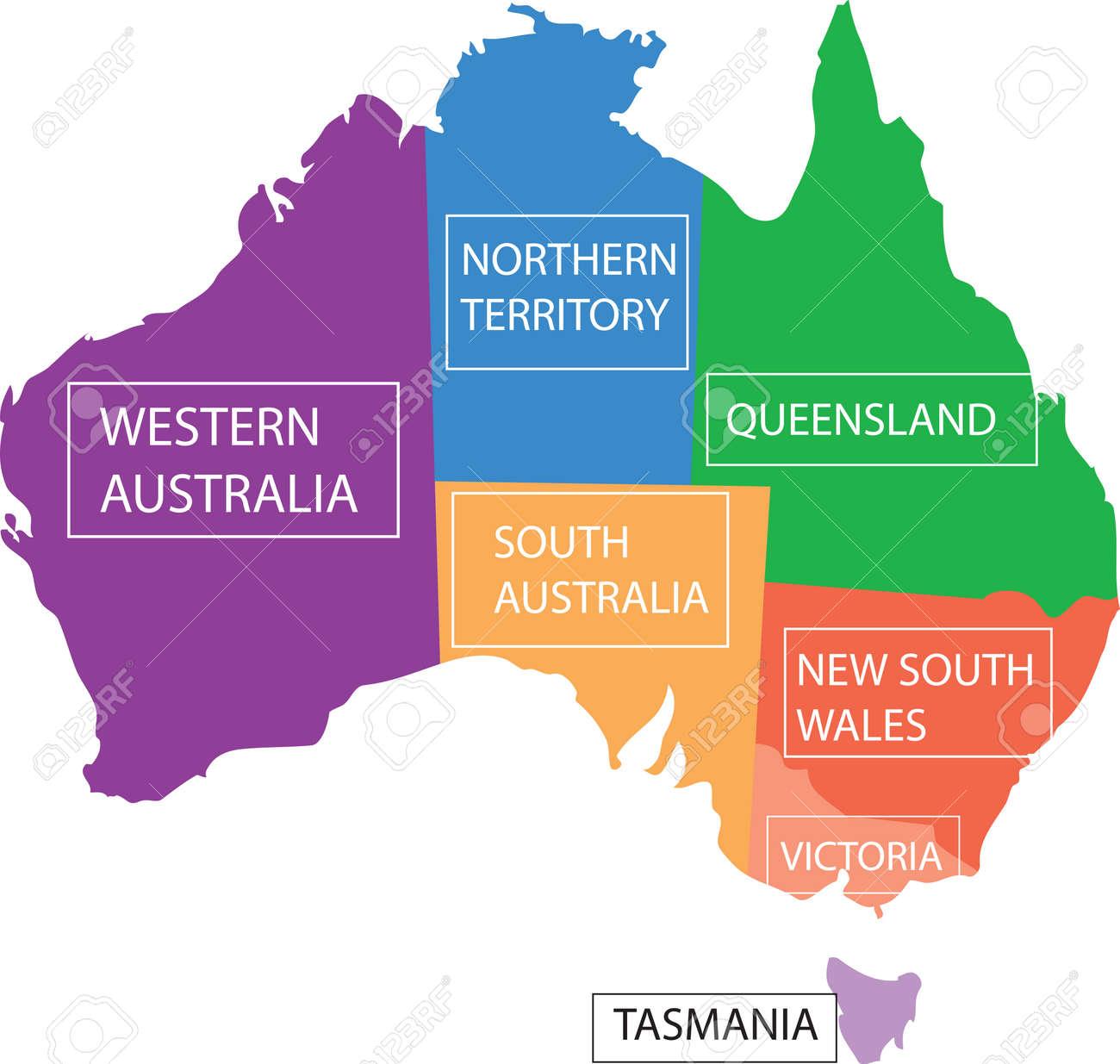 Australia Map Provinces.Map Australia Provinces Royalty Free Cliparts Vectors And Stock