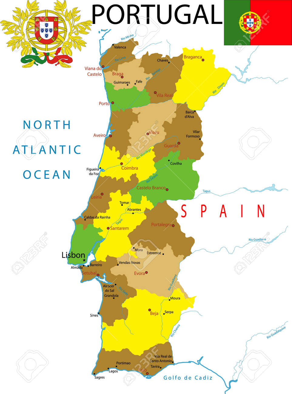 Map Of Portugal Royalty Free Cliparts Vectors And Stock - Portugal map