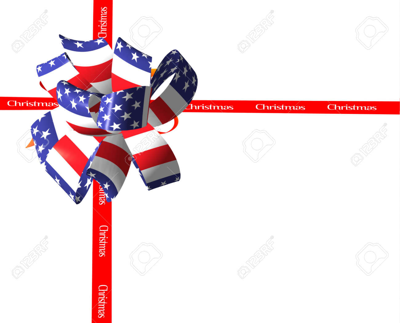 Bow For Patriotic Christmas. Stock Photo, Picture And Royalty Free ...
