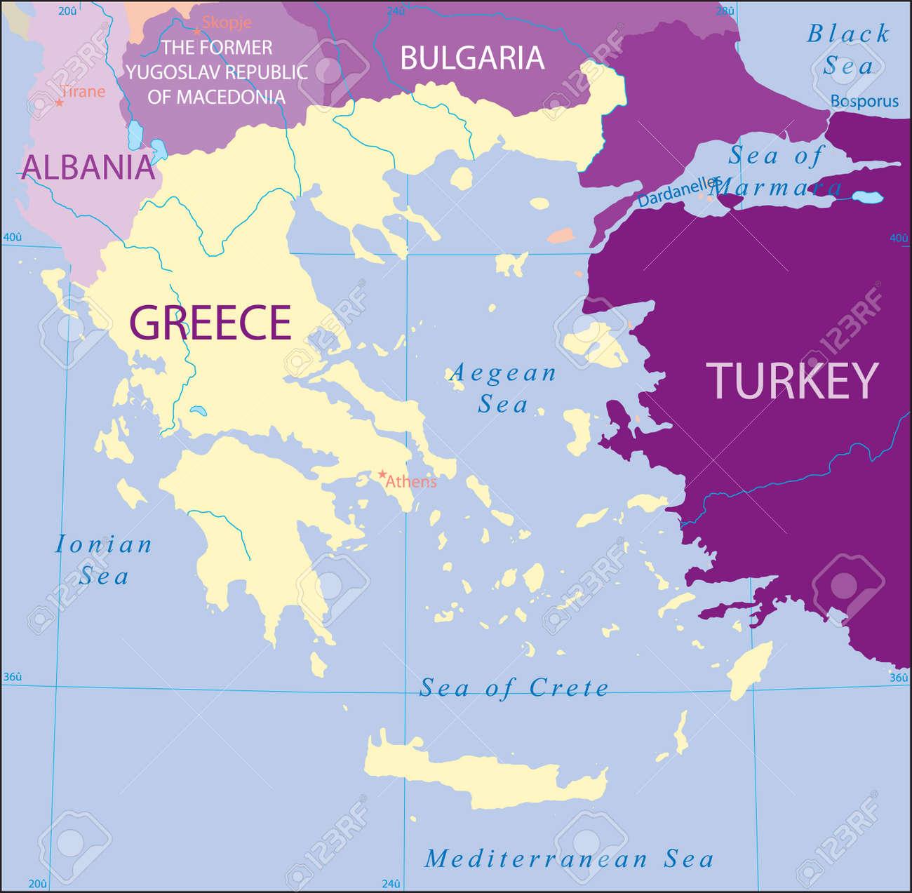 Turchia-Grecia-Albania-Macedonia-Bulgaria Mappa Archivio Fotografico - 3941442