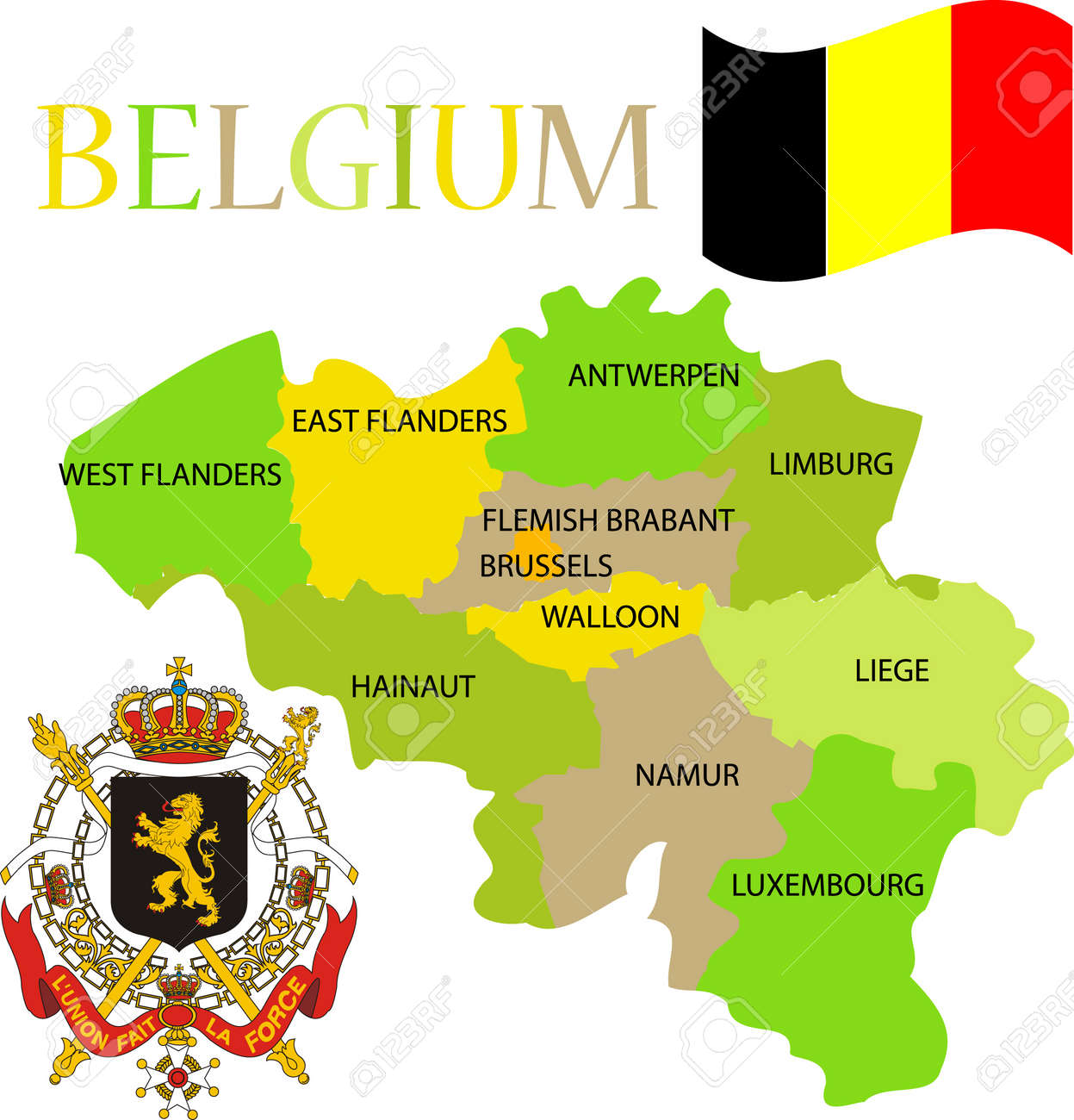 Map Of Belgium With Its Provinces Flag And Coat Of Arm Royalty - Belgium regions map