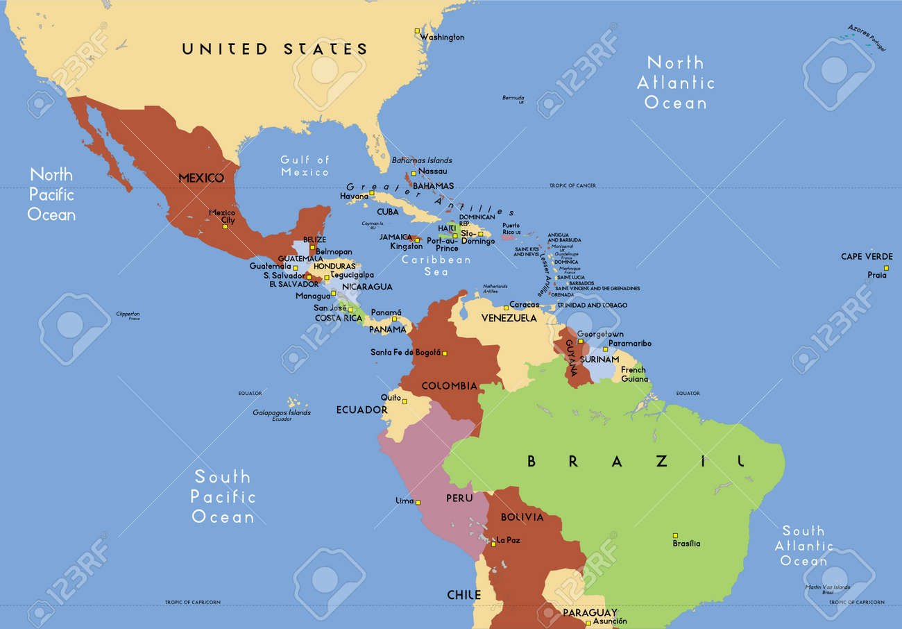 Central America Royalty Free Cliparts Vectors And Stock - Central america and the caribbean islands map