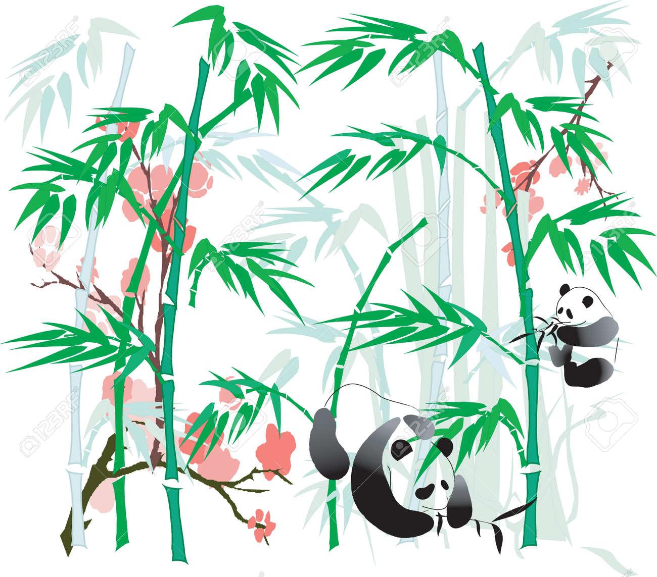 Panda and Bamboo abstract. Stock Vector - 4858325