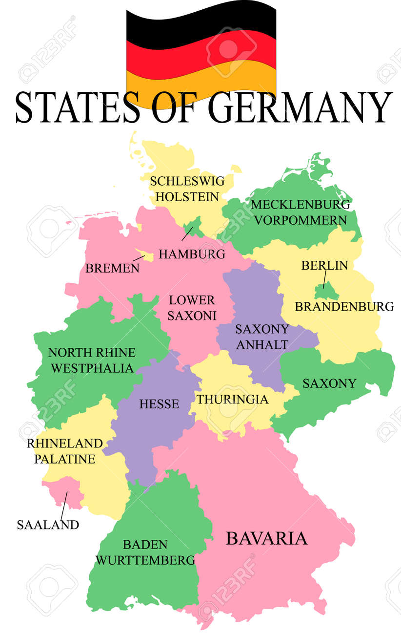 Germania Map With States. Royalty Free Cliparts, Vectors, And ...