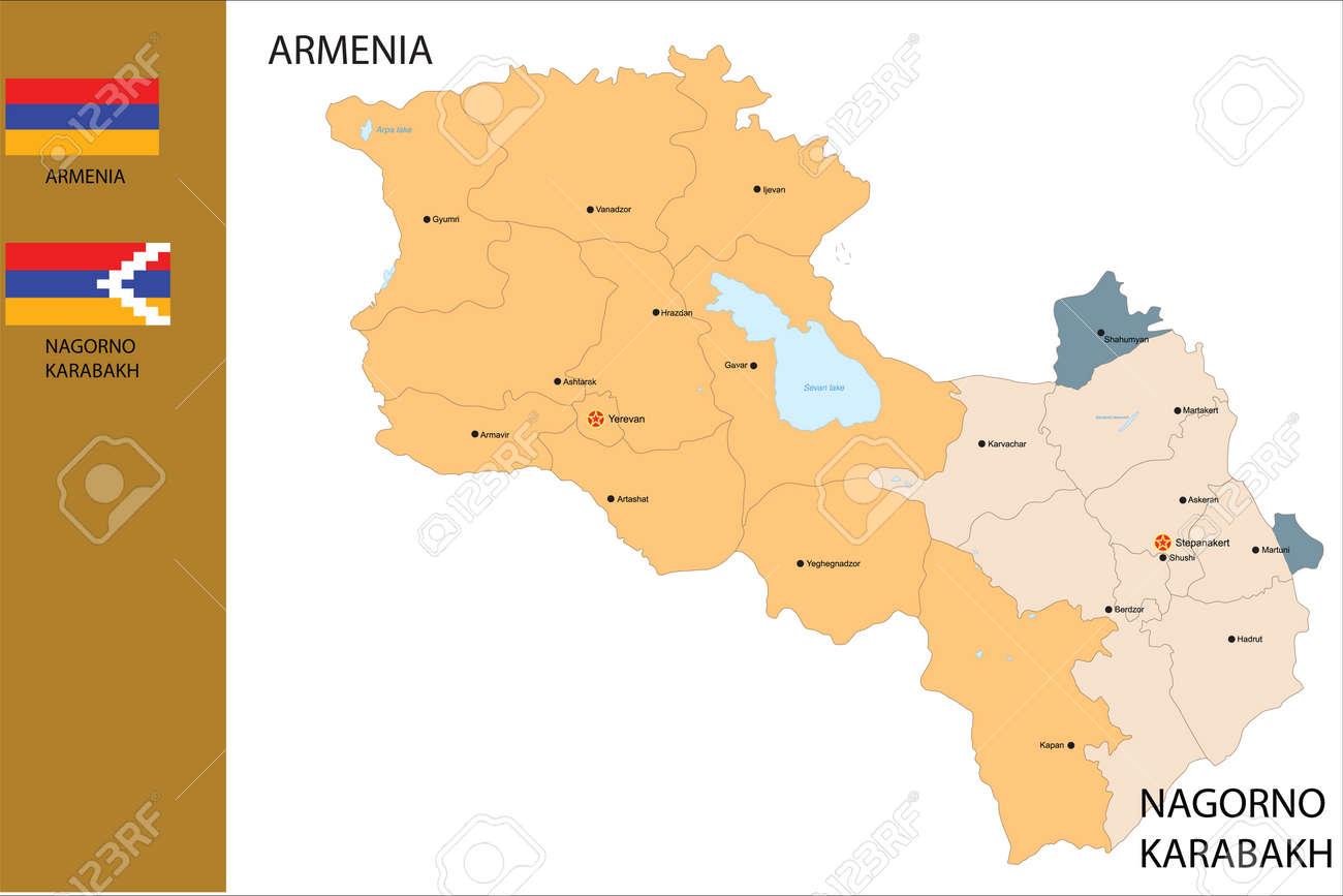 Political Map Of Armenia Country And Nagorno Karabakh With Flag - Political map of armenia