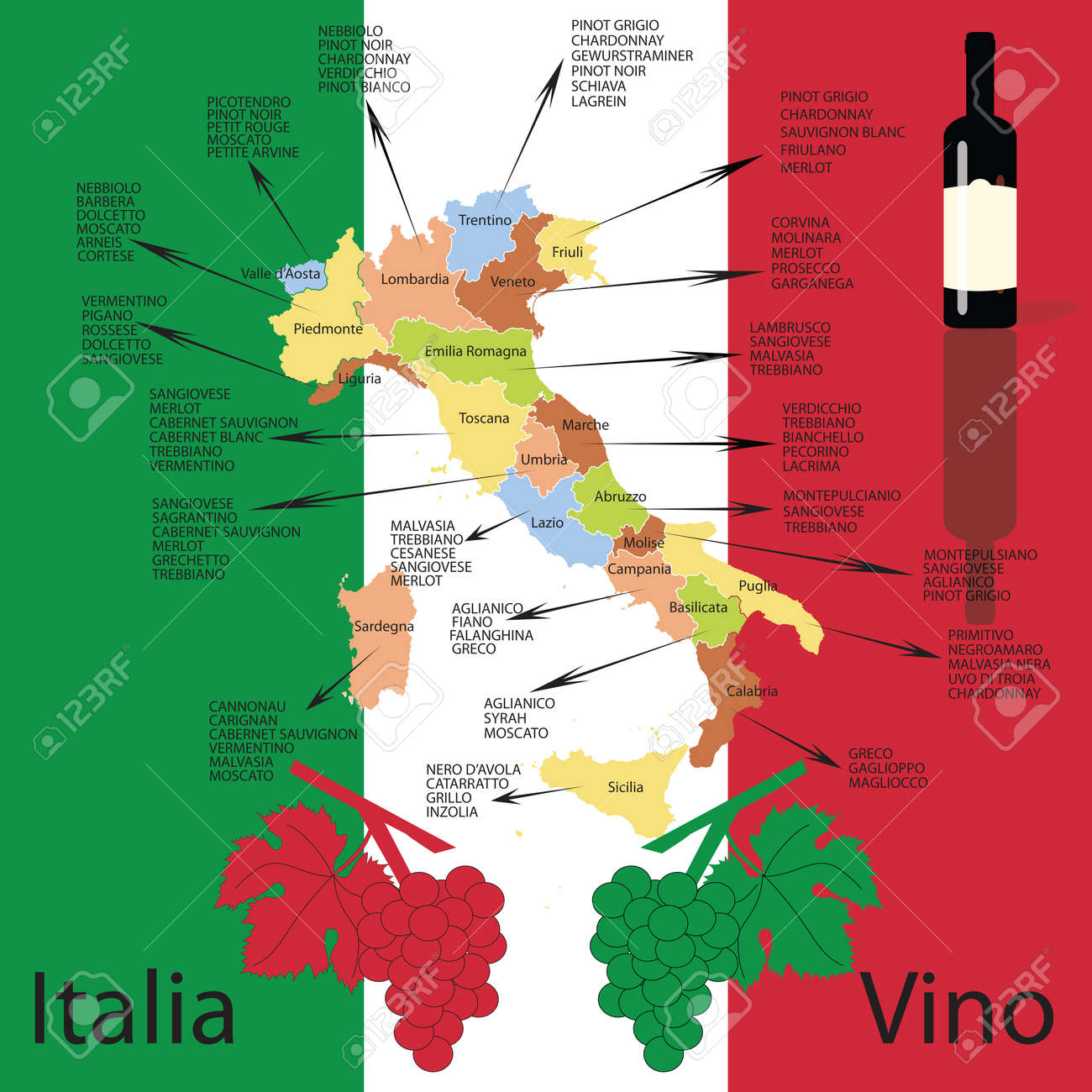 Editable Italian Wine Map Royalty Free Cliparts Vectors And Stock