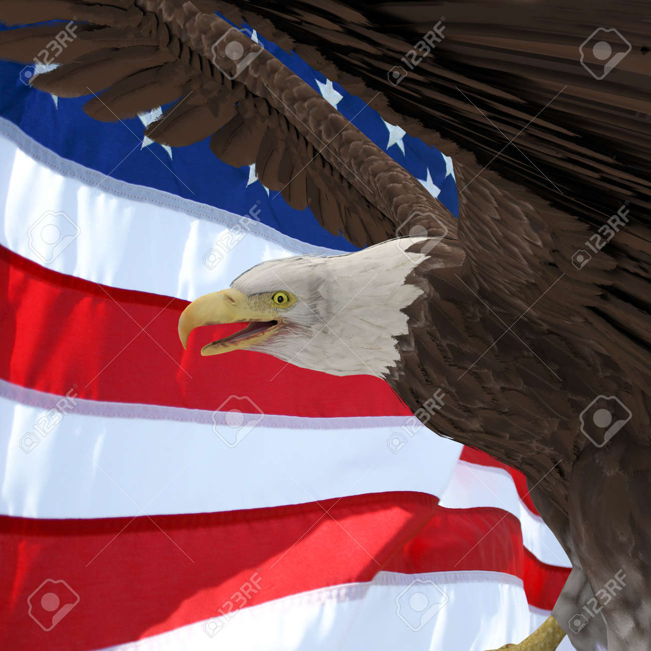 Usa Flag And Silhouette Eagle Profil 2 Stock Photo Picture And