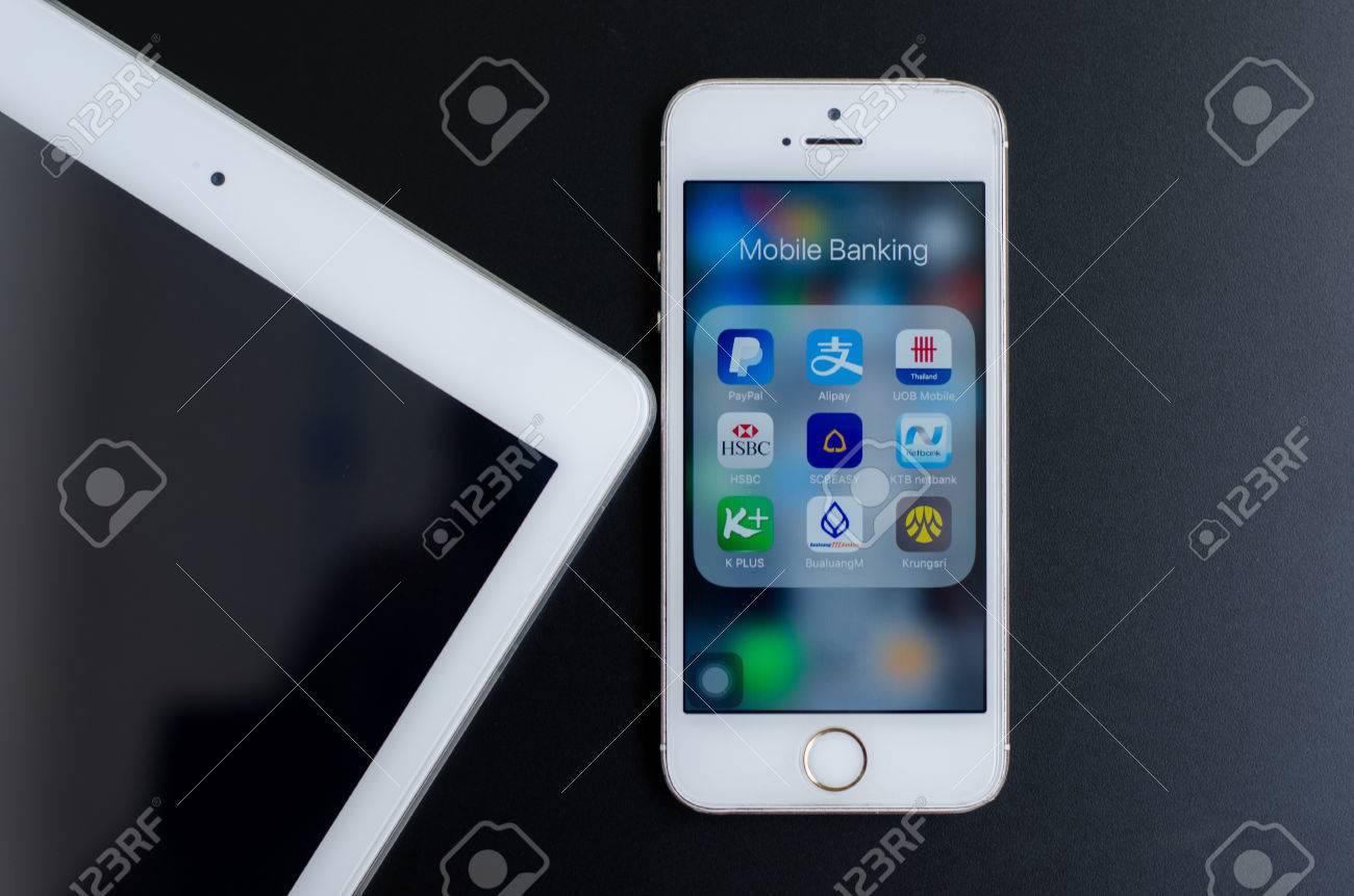 BANGKOK, THAILAND - MAY 18, 2017: Mobile banking icons on iPhone