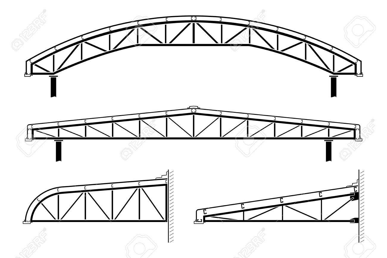 Dachgebäude, Stahlrahmen, Dachstuhl Sammlung, Vektor-Illustration ...