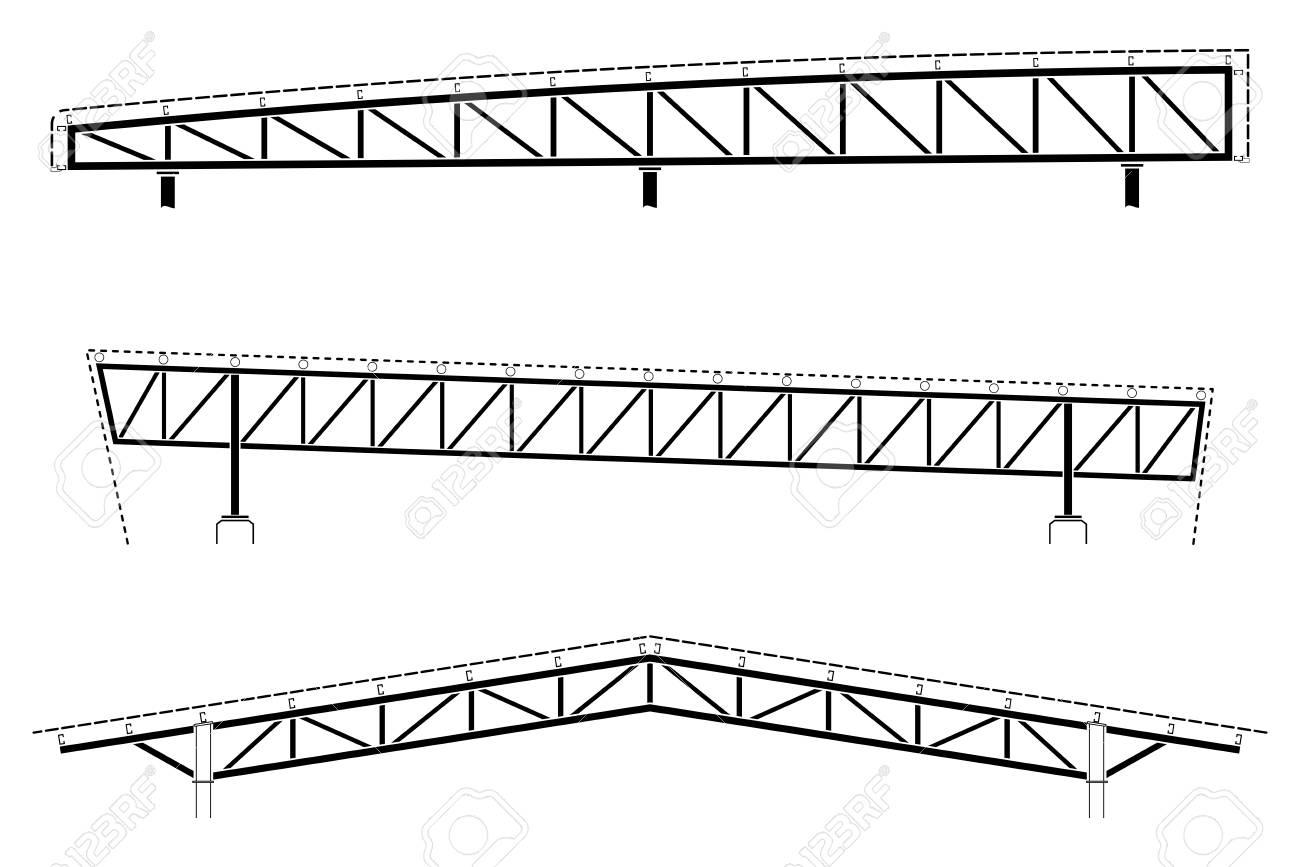 Construcción De Techos, Detalle De Marco De Acero, Conjunto De ...