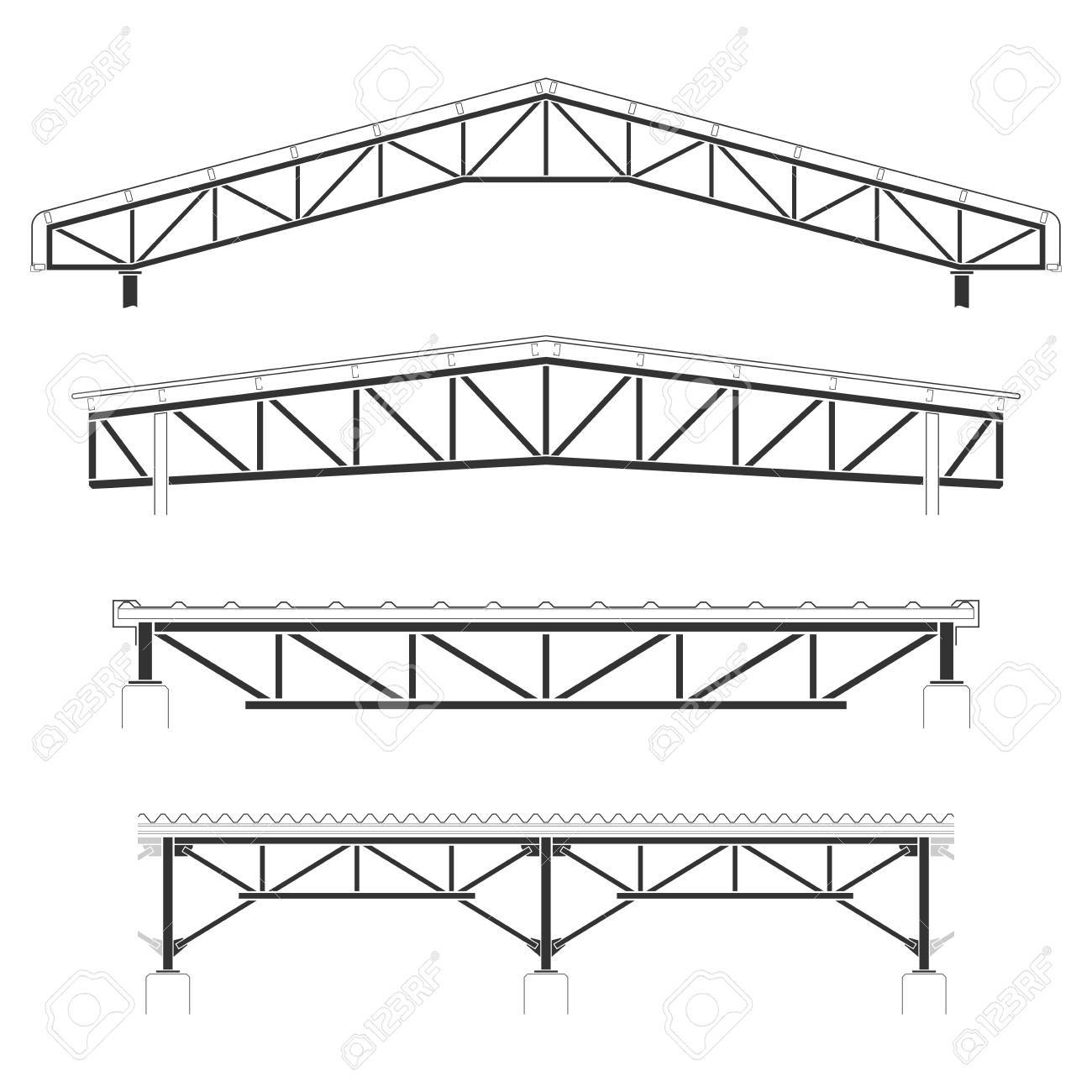 Roofing Building,steel Frame Cover, Roof Truss Set, Vector ...