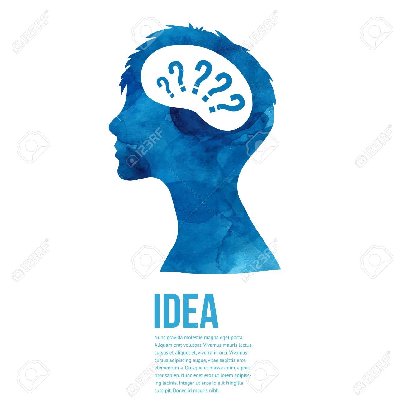 Idée De Photo De Profil processus de la pensée, la création d'idée. homme profil aquarelle