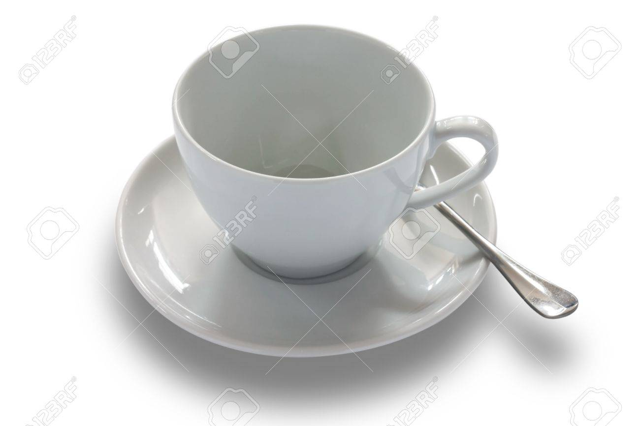 Classic White Ceramic Coffee Cup Saucer And Spoon Isolated Stock Photo Picture And Royalty Free Image Image 21255469