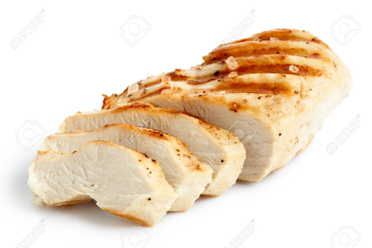 Partially sliced grilled chicken with black pepper and rock salt isolated on white. - 66398576