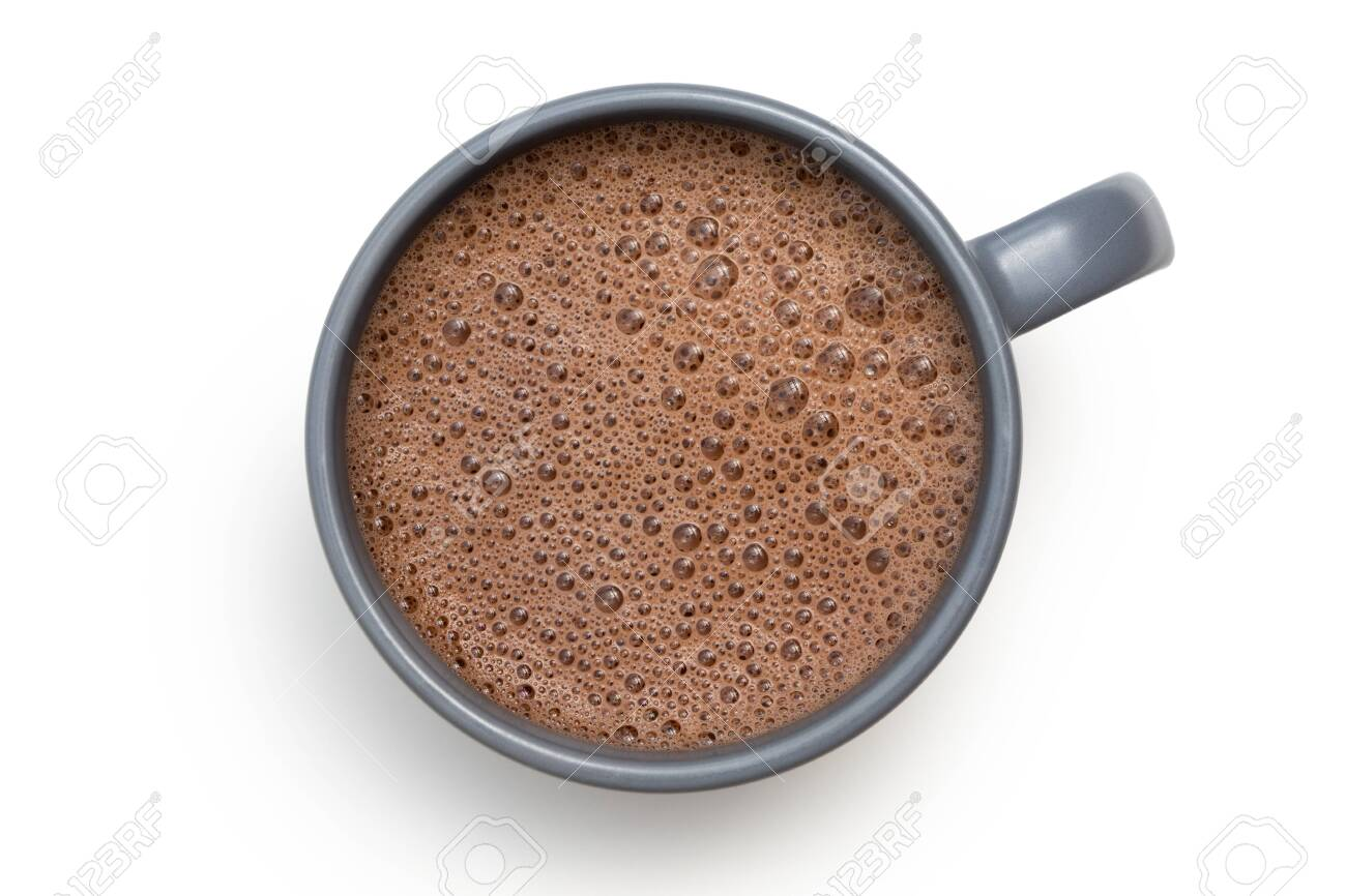 Hot chocolate in a blue-grey ceramic mug isolated on white from above. - 127357099