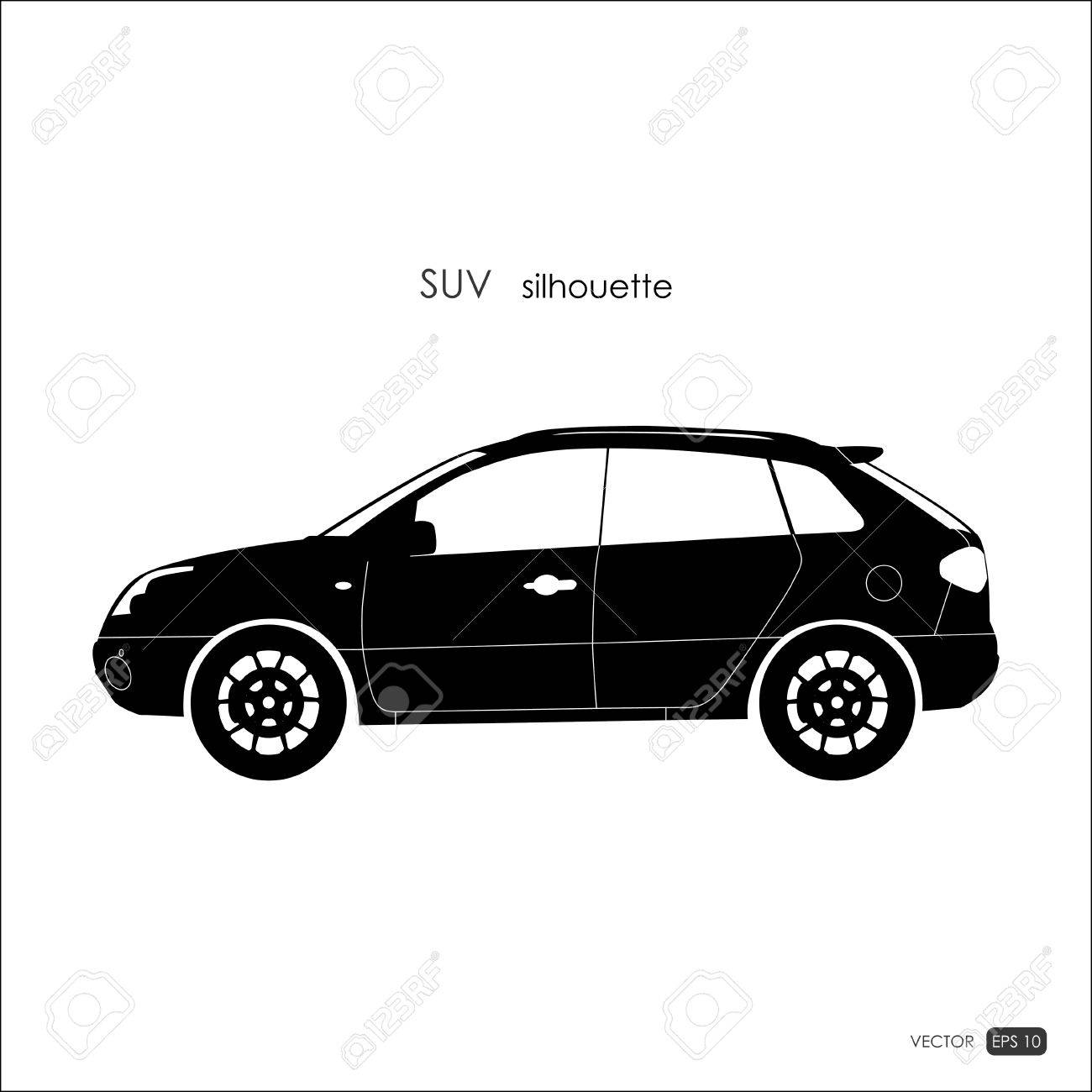 Black Suv Silhouette On White Background Detailed Drawing Of