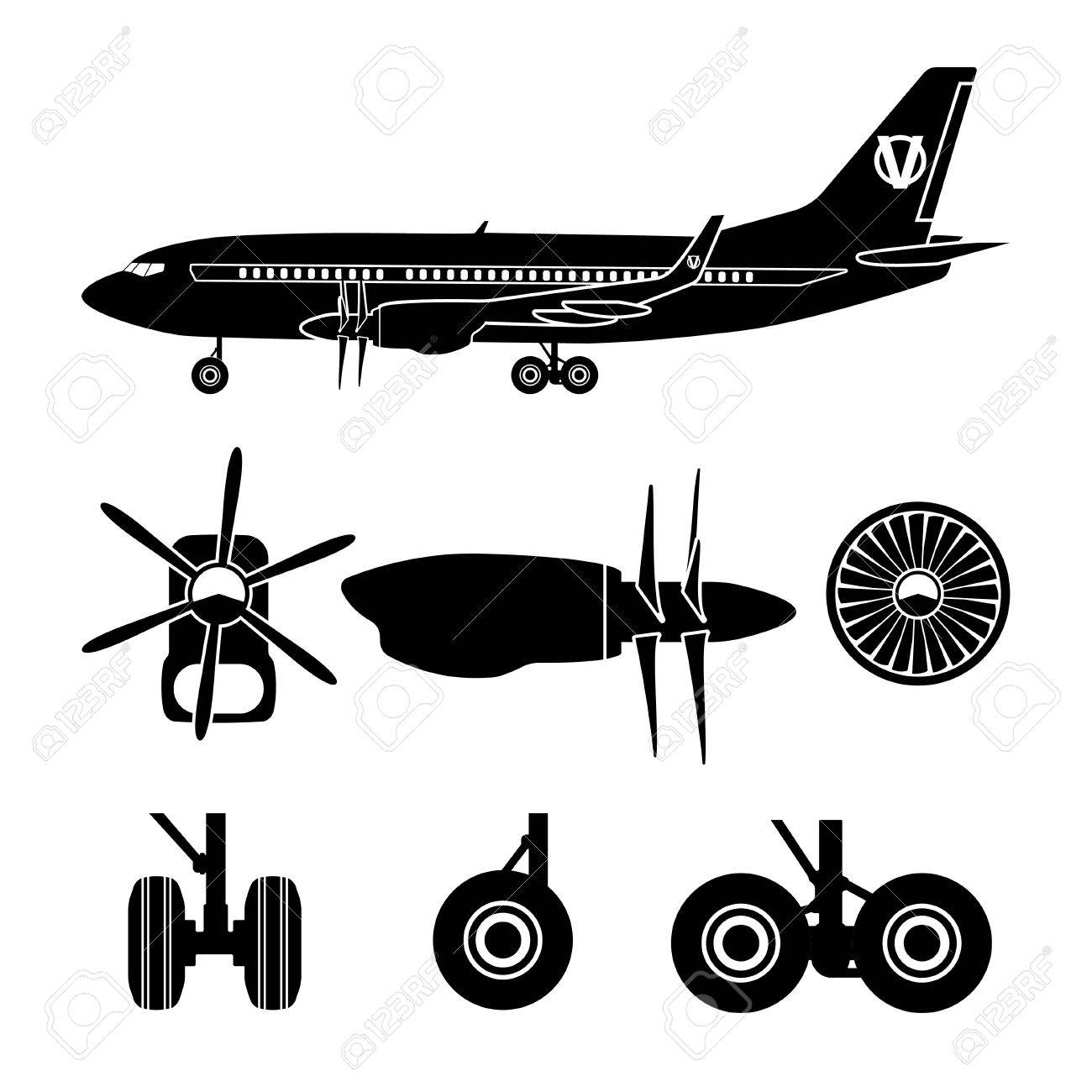 Jets constructor  Black silhouettes aircraft parts  Collection