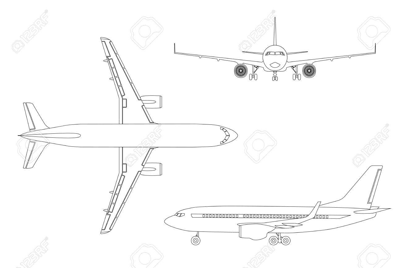 outline drawing plane in a flat style on a white background top view front
