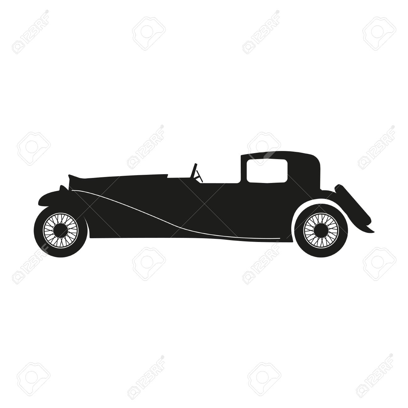 black silhouette of a retro car on a white background vintage rh 123rf com vintage car vector art antique car vector