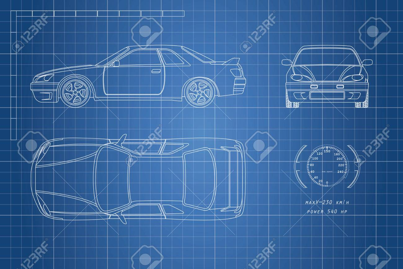 Drawing of the car on a blue background top front and side drawing of the car on a blue background top front and side view malvernweather Gallery