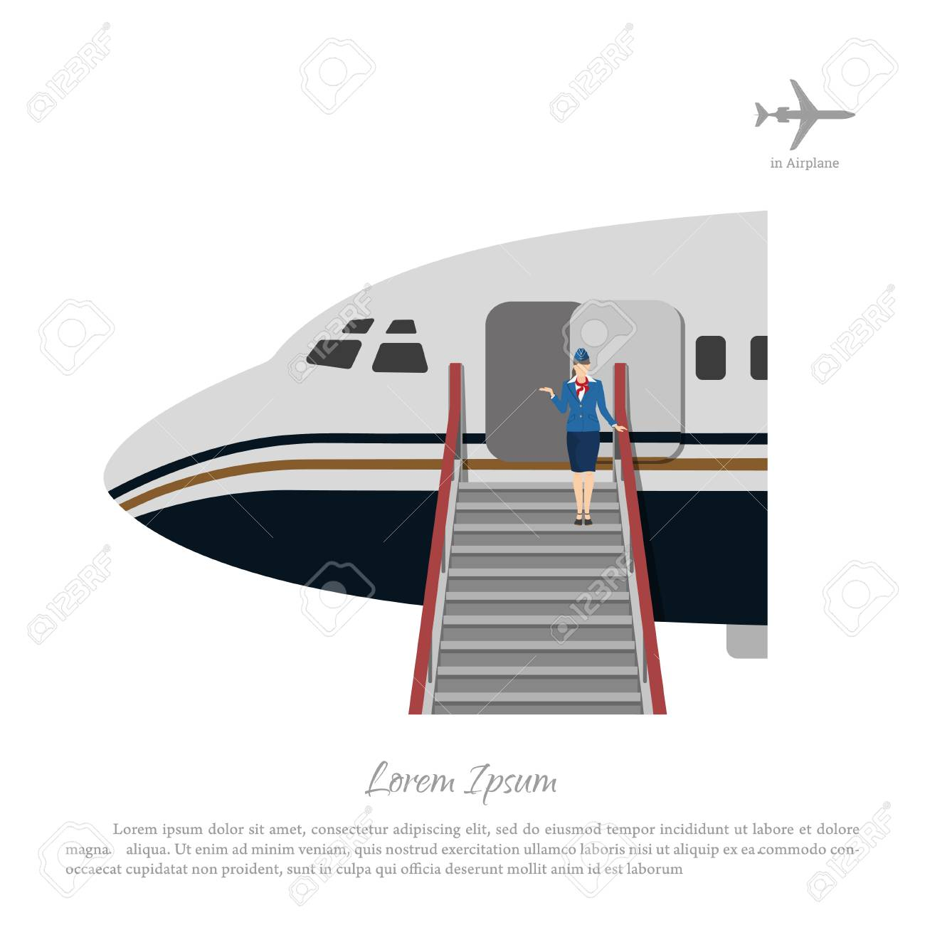 Stewardess welcomes passengers at the aircraft ladder. Flight attendant near the airplane door. Vector  sc 1 st  123RF.com & Stewardess Welcomes Passengers At The Aircraft Ladder. Flight ...