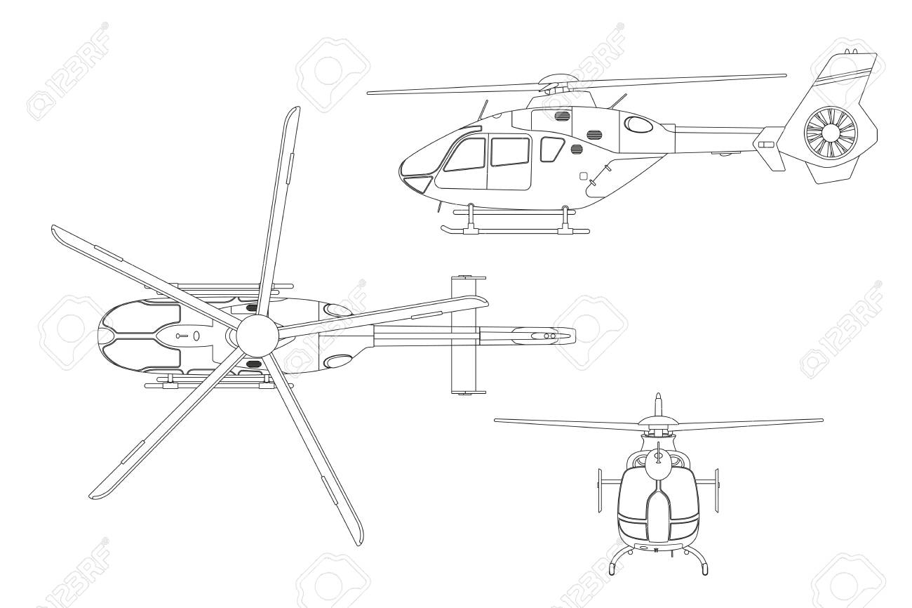 Outline drawing of helicopter on white background top side technical blueprint vector illustration outline drawing of helicopter on white background top side front view technical malvernweather Image collections