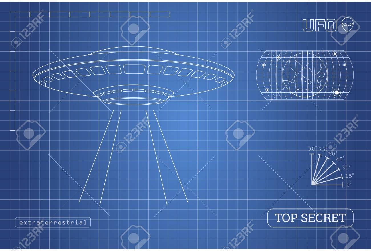 Blueprint of ufo technical document with the drawing of alien blueprint of ufo technical document with the drawing of alien spaceship vector illustration stock malvernweather Choice Image