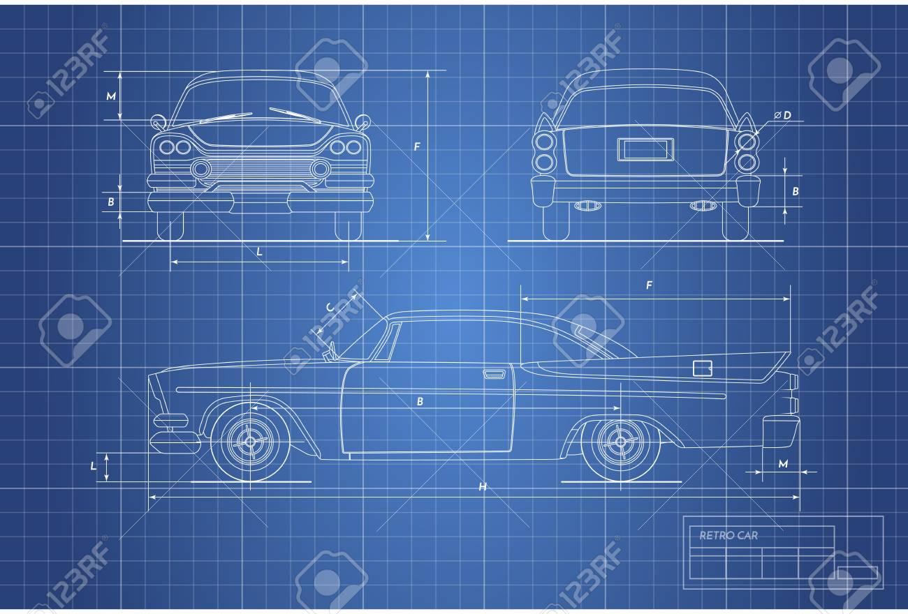 Engineering blueprint of retro car vintage cabriolet front engineering blueprint of retro car vintage cabriolet front side and back view malvernweather Choice Image