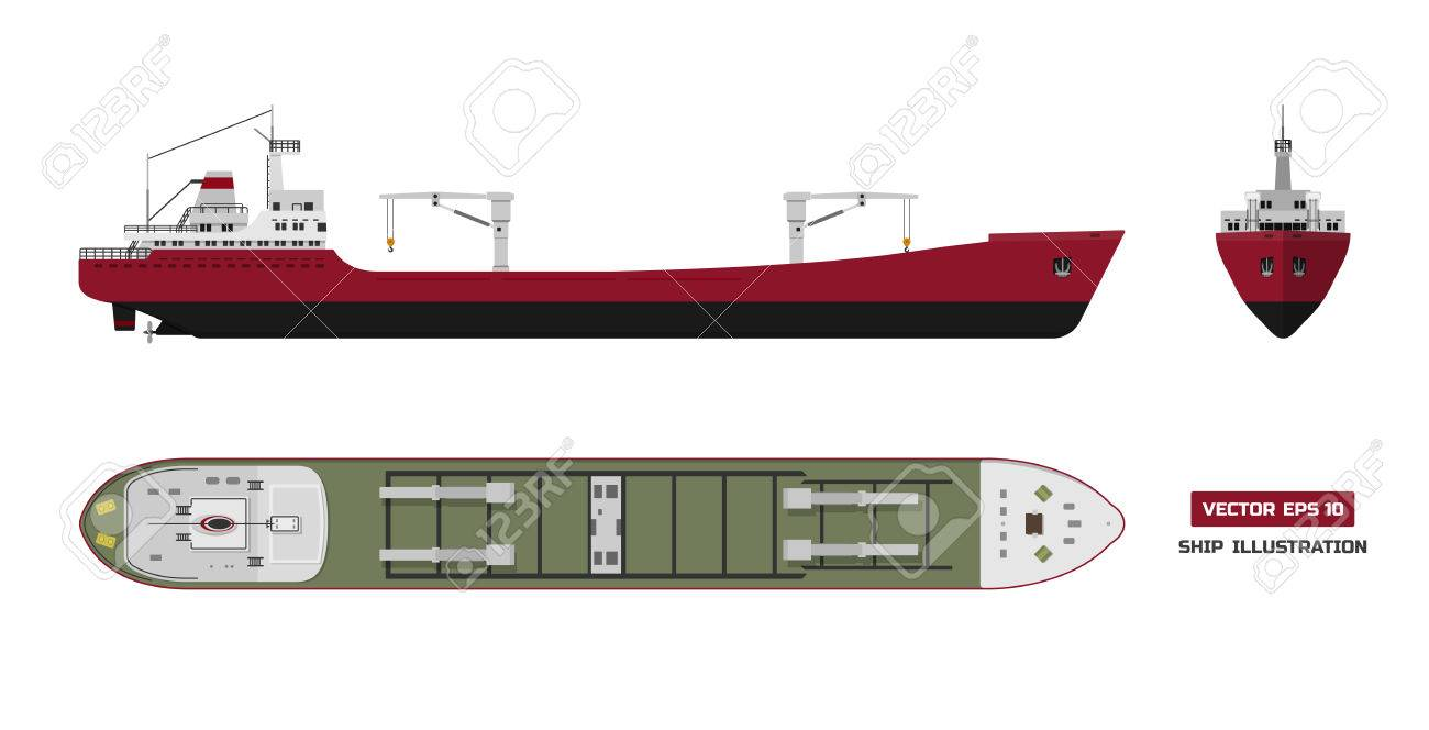 Cargo ship on a white background  Top, side and front view  Container