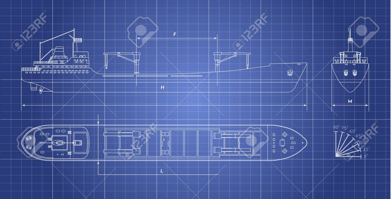Blueprint of cargo ship on a white background - 77611782