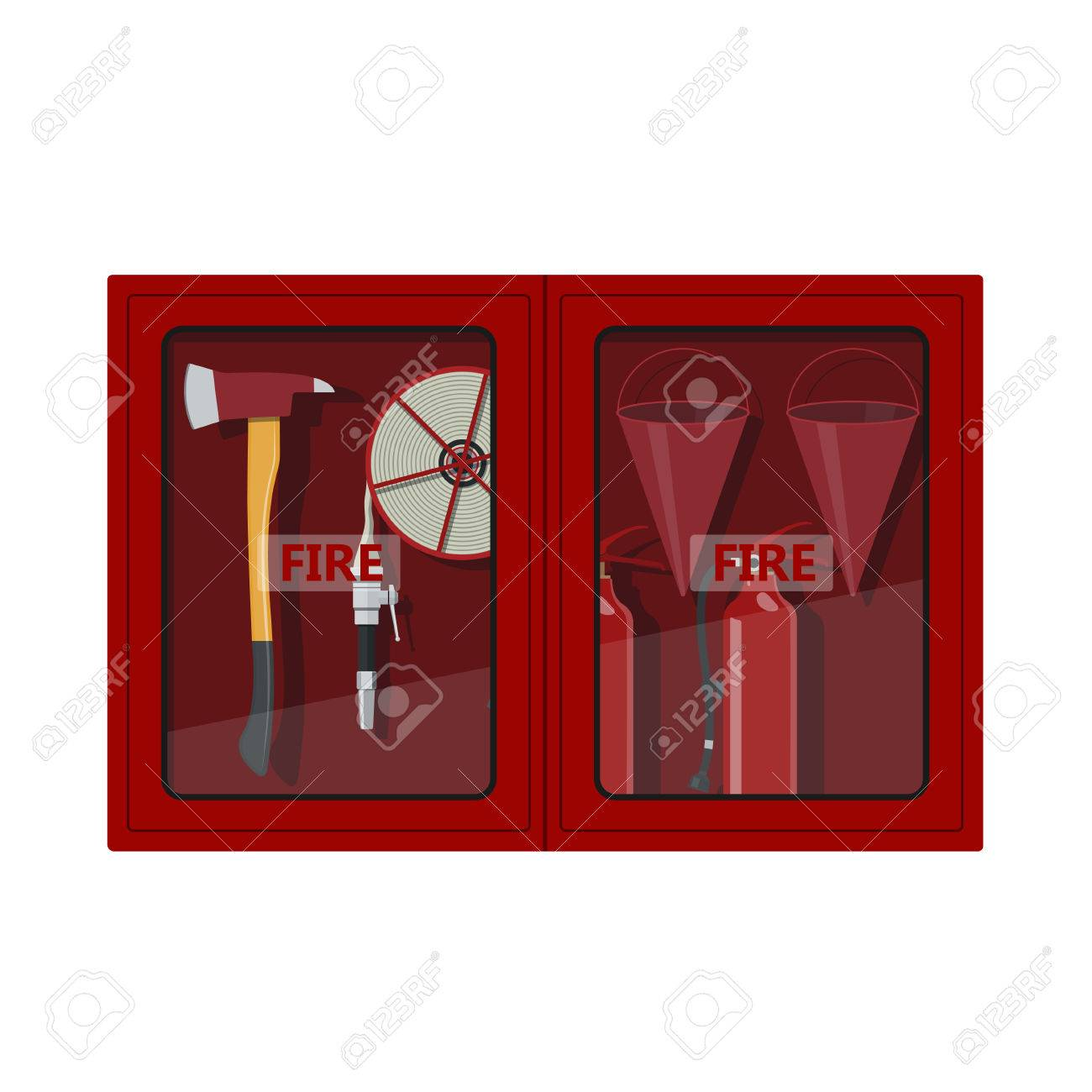 Fire Hose Cabinet On White Background. Box With Firefighters Equipment:  Axe, Extinguisher,