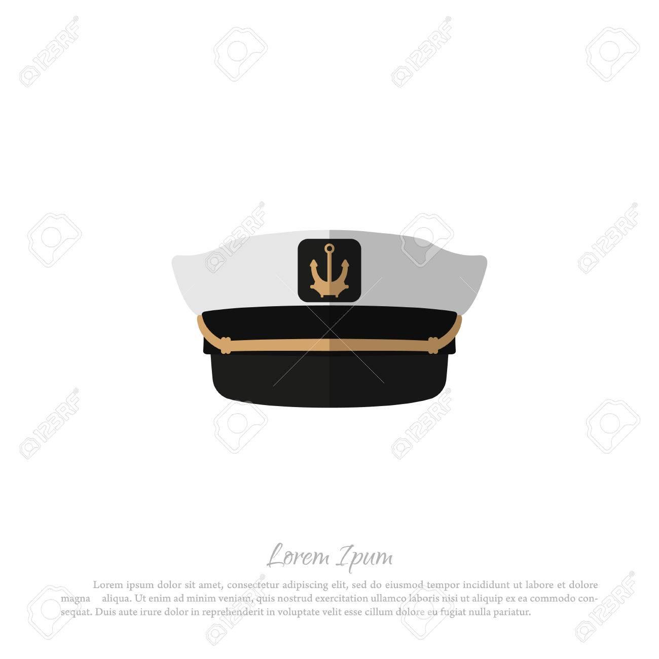 Banque d\u0027images , Chapeau de capitaine sur fond blanc. Icône de chapeau de  marin en style plat