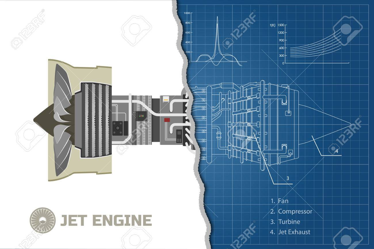 Jet Engine In A Outline Style. Industrial Vector Blueprint. Part ...