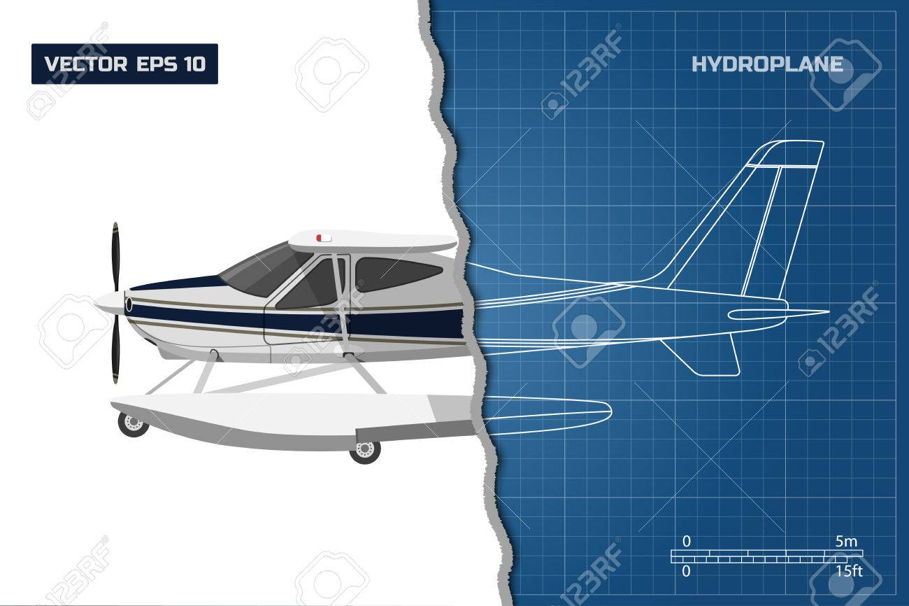 Engineering blueprint of plane side view of hydroplane industrial engineering blueprint of plane side view of hydroplane industrial drawing of aircraft vector malvernweather Choice Image