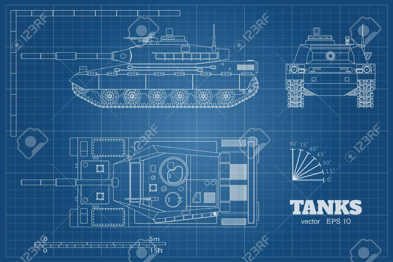 ff17a67107b72 Blueprint Of Realistic Tank. Top