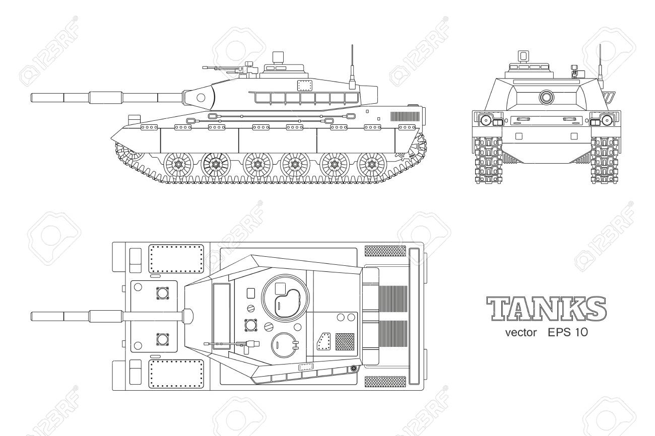 Realistic tank blueprint outline armored car on white background realistic tank blueprint outline armored car on white background top side front malvernweather Image collections
